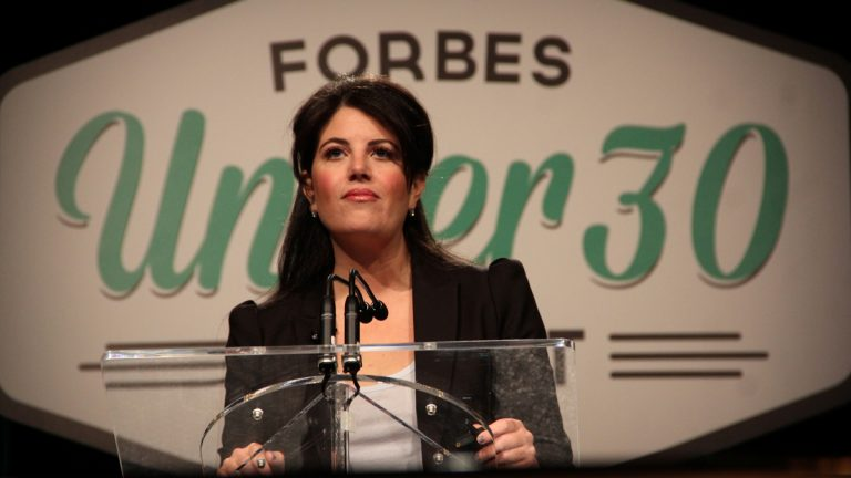 Monica Lewinski speaks at the Forbes Under 30 Summit in Philadelphia in 2014. (Emma Lee/WHYY)