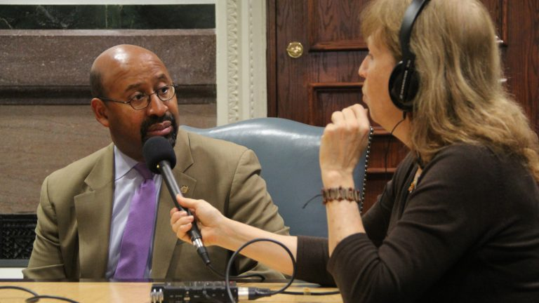 NewsWorks Tonight producer Kimberly Haas interviews outgoing Philadelphia Mayor Michael Nutter. (Emma Lee/WHYY)