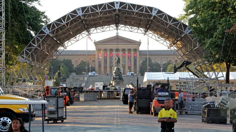 A stage is erected at Eakins Oval for the Festival of Families and the papal Mass. (Emma Lee/WHYY)