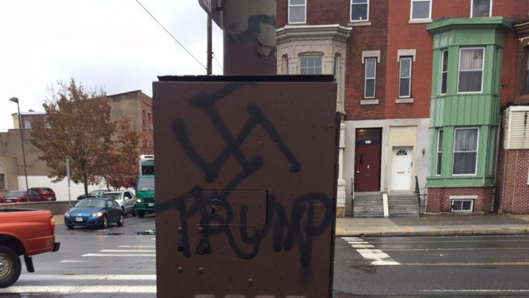 A swastika over Trump's name was painted on an electrical box at South Broad and Reed streets in Philadelphia. (Siobhan Sullivan)