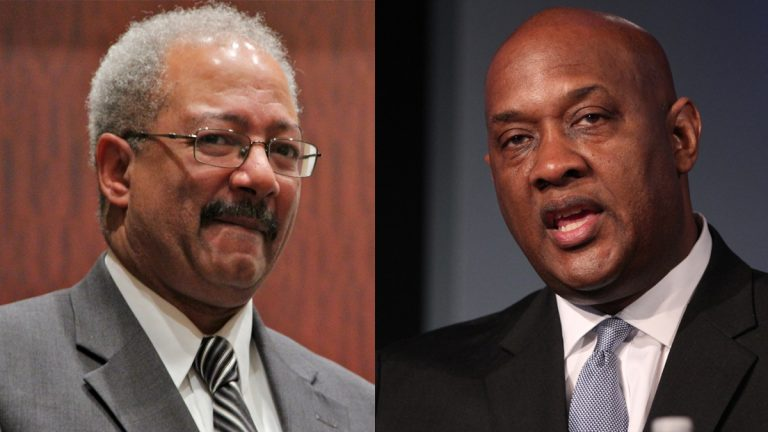 Former U.S. Rep. Chaka Fattah (left) and Pennsylvania State Rep. Dwight Evans (Emma Lee/WHYY)
