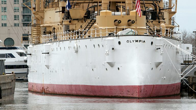 The USS Olympia is docked at the  Independence Seaport Museum at Penn's Landing in Philadelphia (NewsWorks Photo, file)