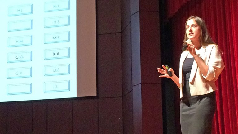 Kristina Anderson, a victim of the 2007 Virginia Tech shooting, speaks to the ninth annual School Safety and Security Conference in Sewell, New Jersey. (Joe Hernandez/WHYY)