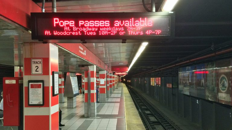 PATCO will sell tickets in its stations on the Saturday and Sunday of the pope's visit. (Joe Hernandez/WHYY)