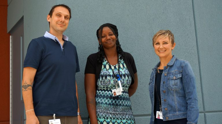 Project Hope, a primary care clinic in Camden, is using buprenorphine to fight opioid addiction. From left to right, social worker Brian Colangelo, peer advocate Danielle Orlando, and physician Lynda Bascelli. (Jessica McDonald/WHYY)