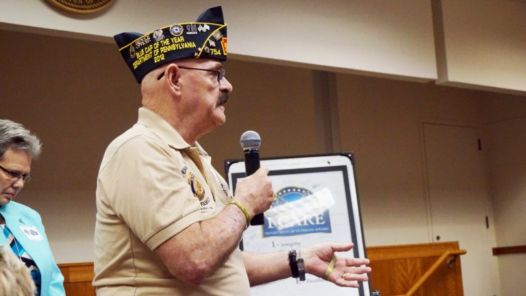Veteran Thomas Mumbower offered feedback to VA officials at the Philadelphia regional benefits office in Germantown. (Jessica McDonald/WHYY)