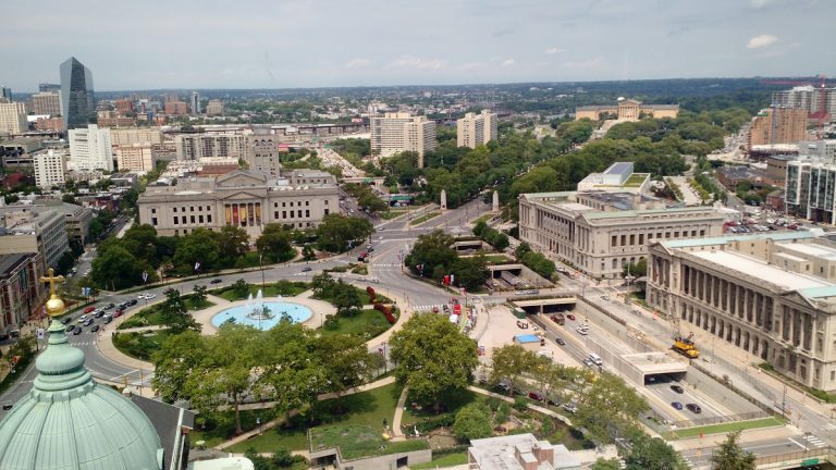 The view of the Benjamin Franklin Parkway from the Sheraton Philadelphia Downtown Hotel. Pope Francis is expected to make two public appearances on the Parkway when he visits the city on Sept. 26 and 27 (Katie Colaneri/WHYY)