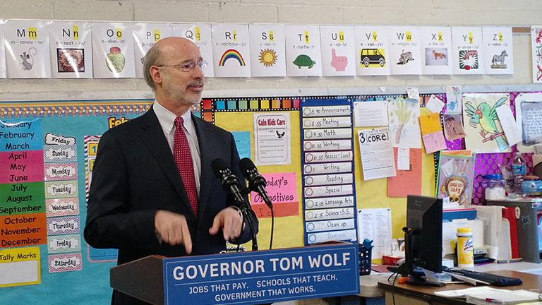 Pennsylvania Governor Tom Wolf proposes a 5 percent severance tax on natural gas drilling at Caln Elementary School in Thorndale, Chester County. (Katie Colaneri/StateImpact Pennsylvania)