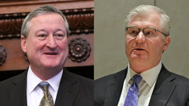 Philadelphia Mayor Jim Kenney (left) and Philadelphia Building and Construction Trades Council head Johnny Dougherty (Emma Lee/WHYY)