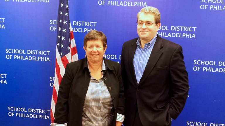 Marjorie Neff and Bill Green present a unified front during a news conference held at Philly schools headquarters Tuesday (Kevin McCorry/WHYY)