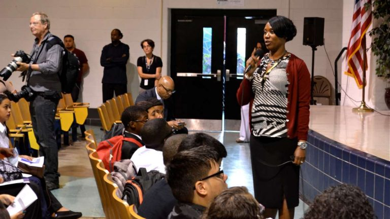 LINC principal Saliyah Cruz on the first day of school, 2014 (Kevin McCorry/WHYY).