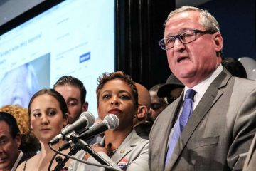 Jim Kenney accepts the Democratic Mayoral nomination Tuesday night. (Kimberly Paynter/WHYY)