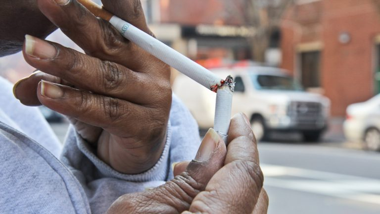 According to new data, 25.8 percent of African-Americans smoke in Philadelphia, compared with  21.4 percent of whites and 19.1 percent of Hispanics. (Kimberly Paynter/WHYY)