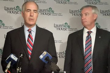 U.S. Sen. Bob Casey and Montgomery County District Attorney Kevin Steele speak at Laurel House