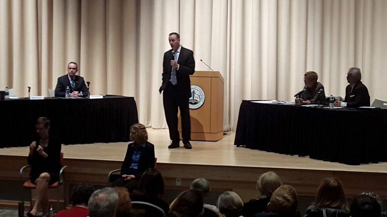 Bucks county Republican congressional candidate Brian Fitzpatrick speaks during Friday morning's debate at Del Val University. (Laura Benshoff/WHYY)