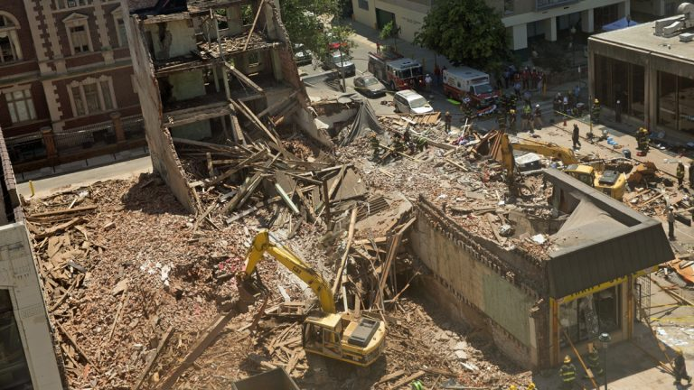 An overhead view of the deadly 2013 building collapse in Center City Philadelphia (Lindsay Lazarski/WHYY)