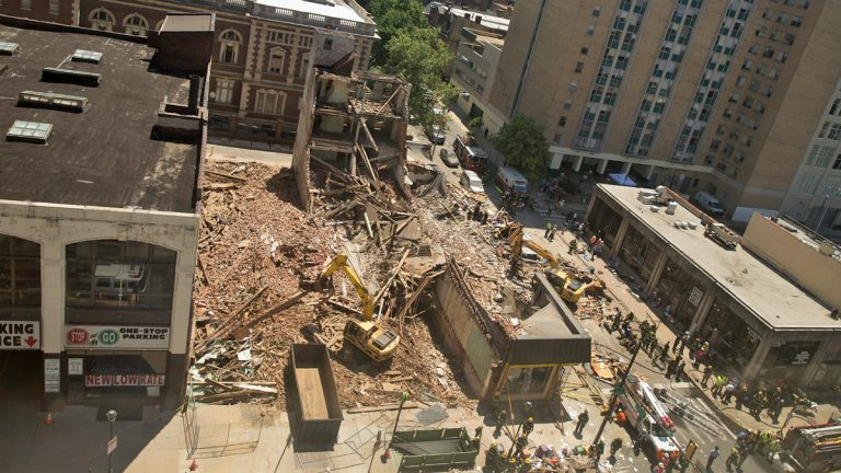 A four-story building collapsed on 22 and Market Streets June 5, 2013.  (Lindsay Lazarski/WHYY)