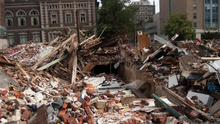 The site of the fatal Center City building collapse