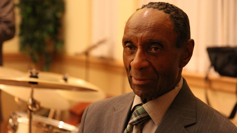 Famed jazz drummer Charlie Rice is pictured at the Collingswood Community Center in New Jersey in this 2011 NewsWorks photo.(Lindsay Lazarski/WHYY)