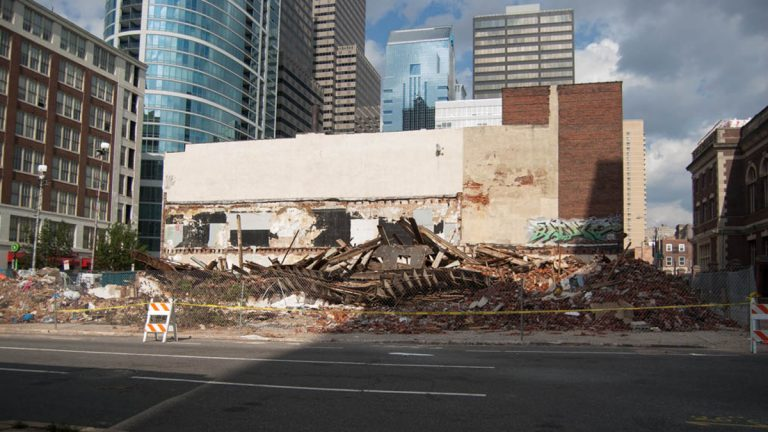 The collapse site as seen across 22nd Street. (Lindsay Lazarski/WHYY file photo)