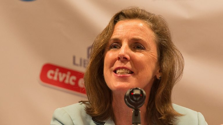 Katie McGinty is one of four Democratic candidates looking to run against Pa. Gov. Tom Corbett.  (Lindsay Lazarski/WHYY)