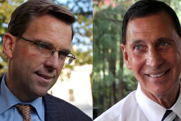 Bill Hughes (left) and Frank LoBiondo, the incumbent candidate for New Jersey's Second Congressional District. (Emma Lee/WHYY)
