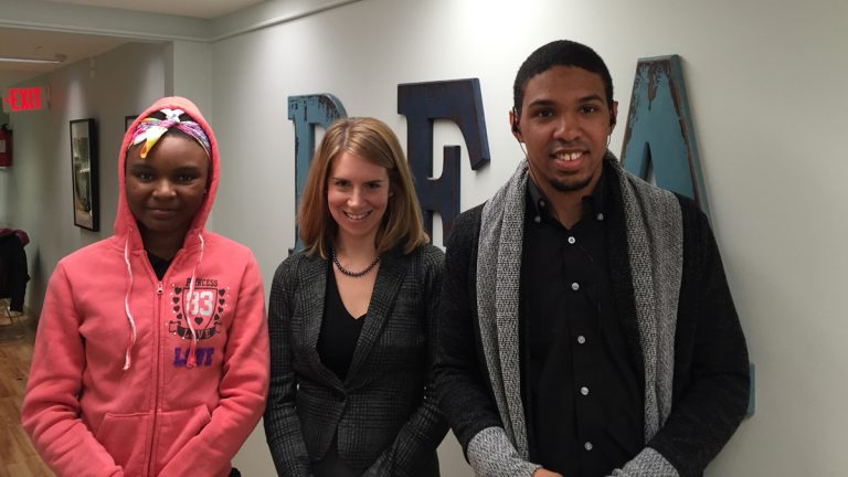 Psychiatrist Irene Hurford (center) with two clients at 'PEACE', Shandese, 18, and Oberon, 20. (Maiken Scott/WHYY)