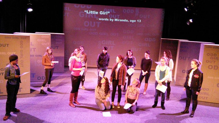 The cast of 'Odd Girl Out' during a rehearsal at Temple University (Peter Crimmins/WHYY)