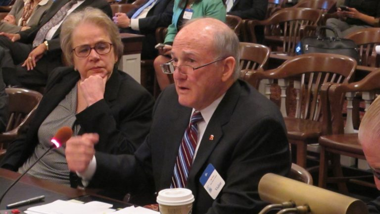 Rutgers president Robert Barchi tells Assembly Budget Committee universities are improving operating efficiency and increasing fundraising efforts to make up for a proposed drop in direct state support. (Phil Gregory/WHYY)