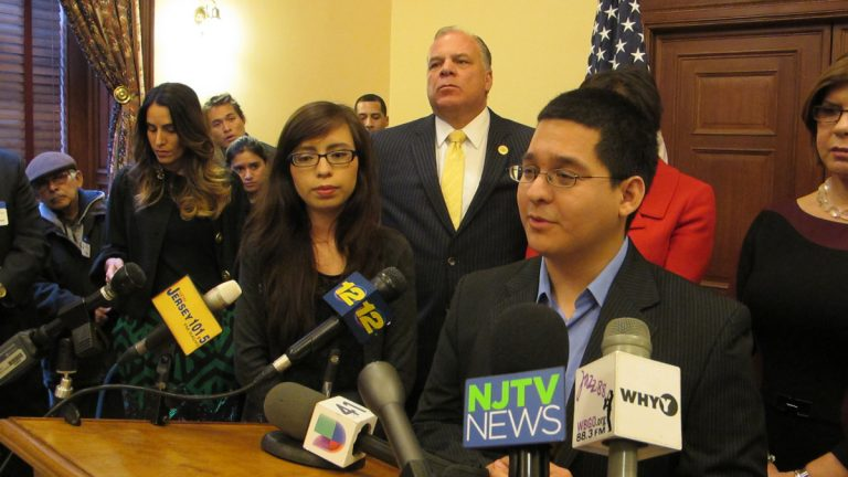 Supporters react to Dream Act agreement at Statehouse news conference (Phil Gregory/for NewsWorks)