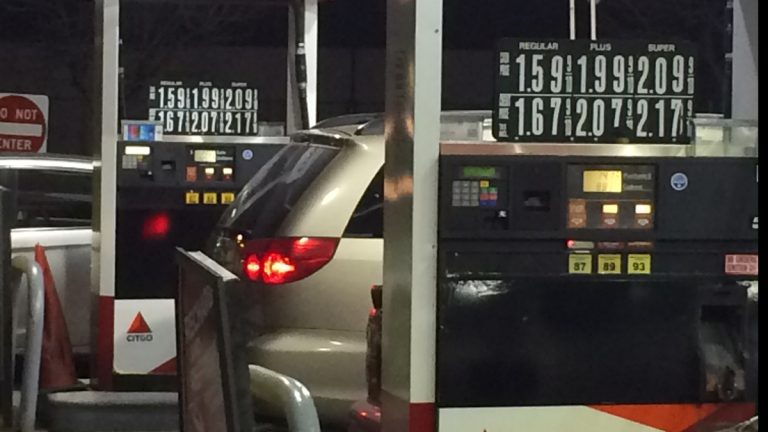 A service station in Point Pleasant, New Jersey, is selling gas for less than the state average.  (Phil Gregory/WHYY)