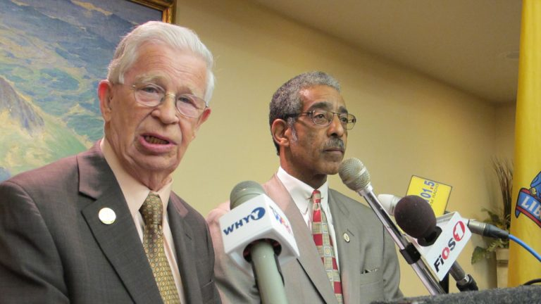 N.J. Sens. Sam Thompson and Ron Rice urge the legislature's investigation committee to look at spending in Newark. (Phil Gregory/for NewsWorks)