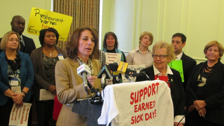 At a Statehouse news conference, lawmakers and advocates express a need for a statewide paid sick leave requirement (Phil Gregory/WHYY)
