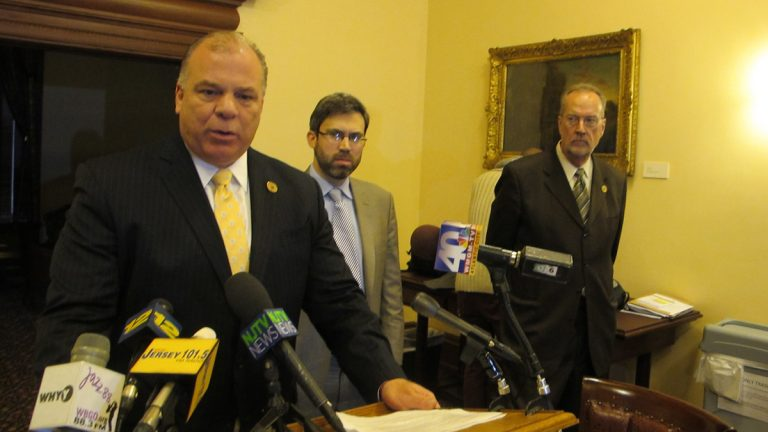 Senate President Steve Sweeney (left), Environment New Jersey director Doug O'Malley, and Senator Jim Whelan urge the BPU to implement legislation that would encourage the development of offshore wind projects (Phil Gregory/for NewsWorks)