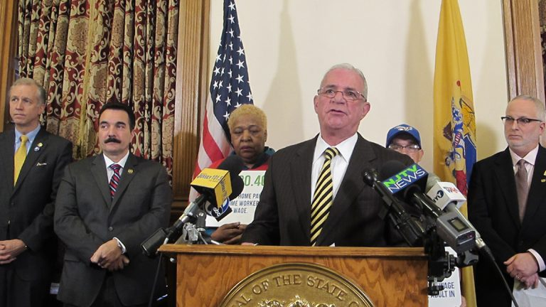 Democratic lawmakers introduce a measure calling for $15 an hour minimum wage in New Jersey. (Phil Gregory/WHYY)
