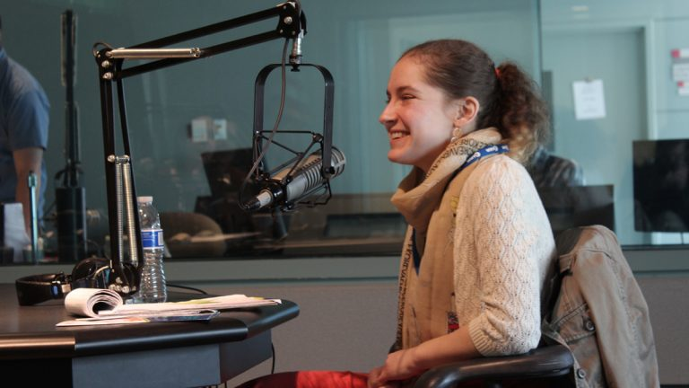 Dakota Fisher-Vance speaks with NewsWorks Tonight's Dave Heller at the WHYY studios. (Robert J. Chimienti/for WHYY)