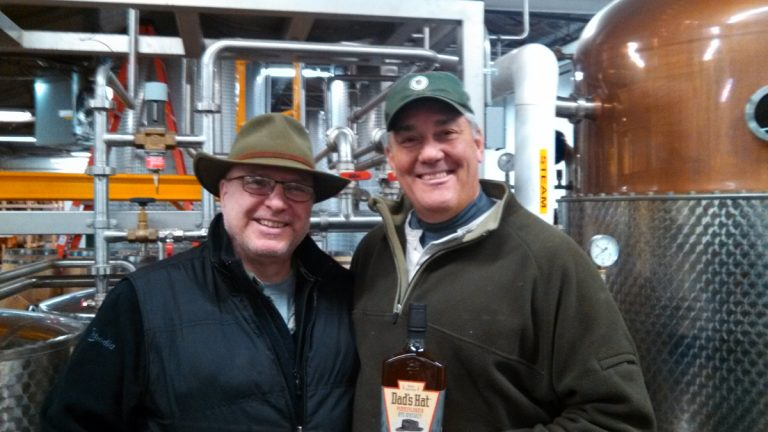 Distiller Herman Mihalich (left) and partner John Cooper of Dad's Hat Rye in Bristol