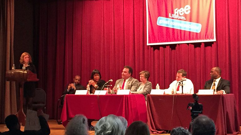Judges vying for three coveted spots on the Pennsylvania Supreme Court took part in a Community Forum Q&A at the Free Library of Philadelphia Wednesday night (Steve Trader/WHYY)