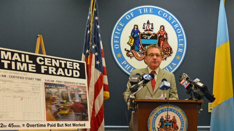 City Controller Alan Butkovitz during a press conference Tuesday (Tom MacDonald/WHYY)