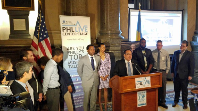 Councilman David Oh joins PHL Live performers at City Hall (Tom MacDonald/WHYY)