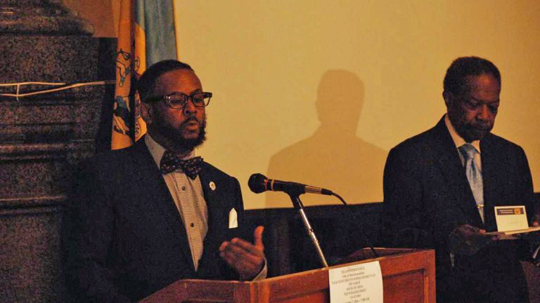 Councilman Curtis Jones and David Fattah of the House of Umoja talk about the Million Father March (Tom MacDonald/WHYY)