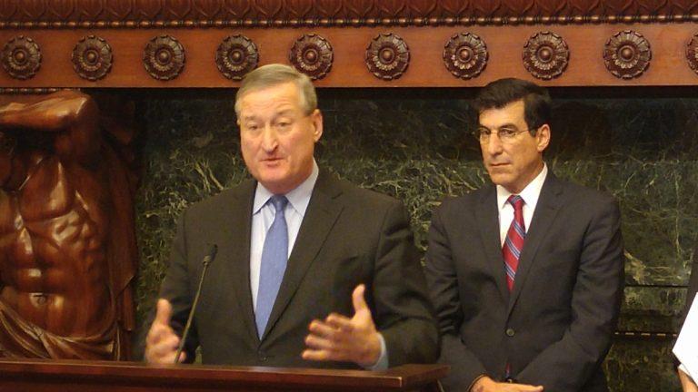 Philadelphia Mayor Jim Kenney speaks from City Hall in this Thursday, Jan. 21, file photo (Tom MacDonald/WHYY)
