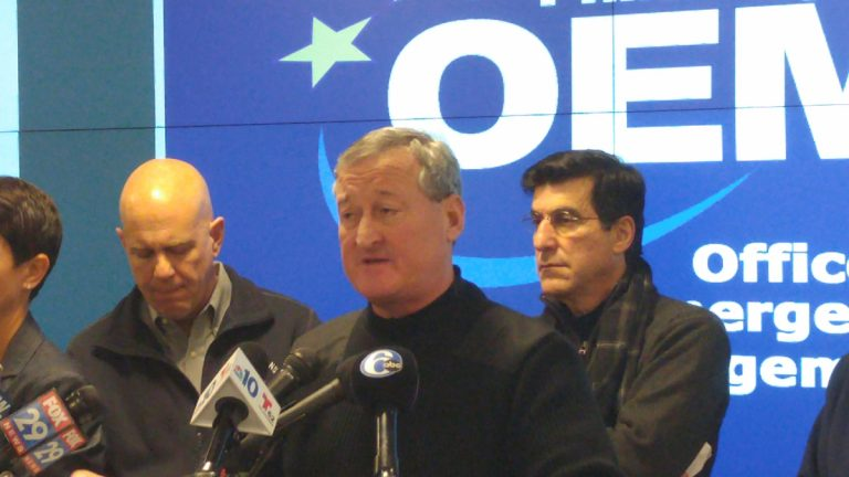 Philadelphia Mayor Jim Kenney adr3esses the press at the Office of Emergency Management on Sunday morning (Tom MacDonald/WHYY)