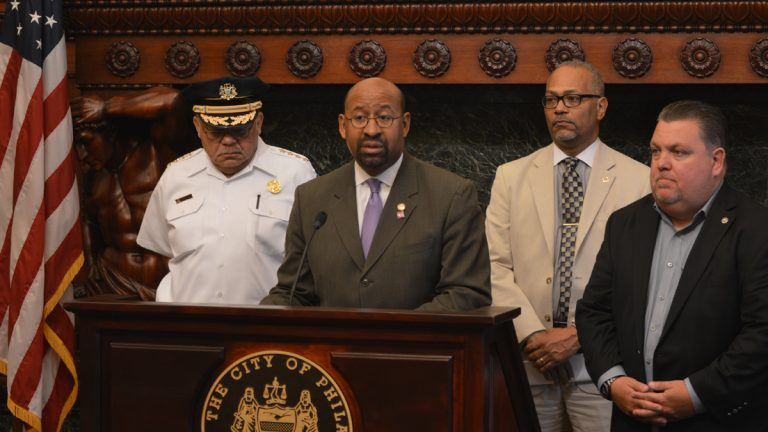 Philadelphia Police Commissioner Charles Ramsey (from left). Mayor Michael Nutter, Deputy Mayor Everett Gillison and John McNesby, head of the police union. (Tom MacDonald/WHYY)