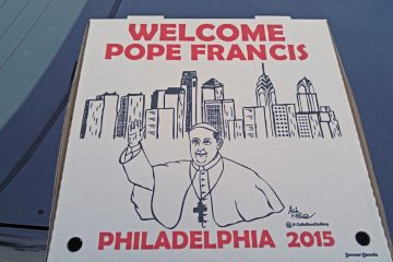 Amanda Farese, director of marketing for Savona-Stavola, who is also an artist on the side, drew the picture of Pope Francis that adorns the box. (Tom MacDonald/WHYY)