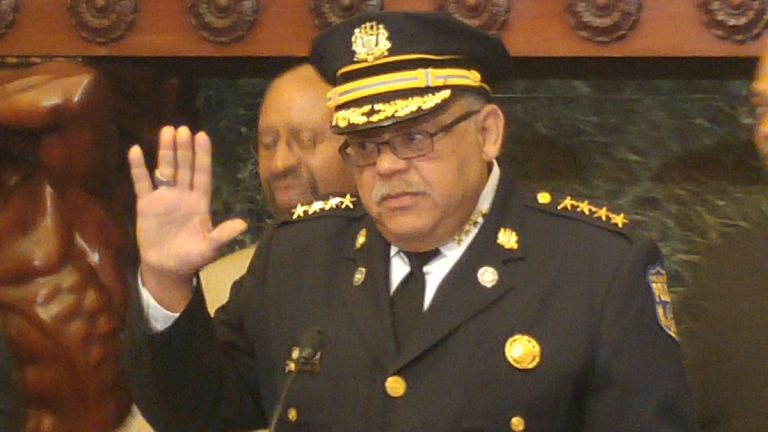 Police Commissioner Charles Ramsey waves goodbye (Tom MacDonald/WHYY)