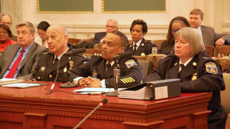 Police Commissioner Richard Ross (center) testifies before City Council  (Tom MacDonald/WHYY)