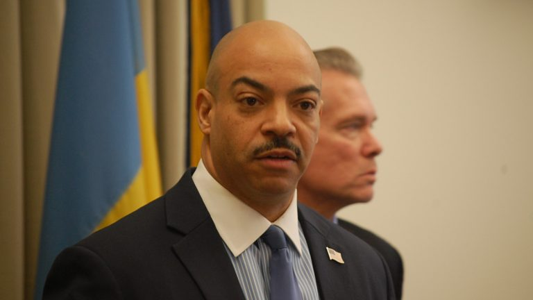 Philadelphia District Attorney Seth Williams announces charges against three current and former state lawmakers from Philadelphia. (Tom MacDonald/WHYY)