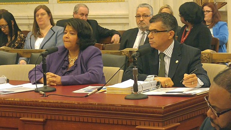 President Judge Sheila Woods-Skipper (left) testified at Philadelphia City Council she is working on expanding electronic monitoring to cut numbers at the city's correctional facilities. (Tom MacDonald/WHYY)
