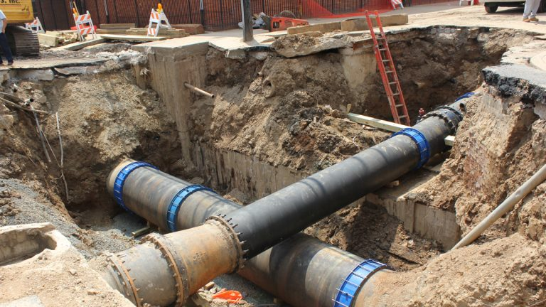 A water main is replaced at 21st and Bainbridge streets in 2012 (NewsWorks file photo)